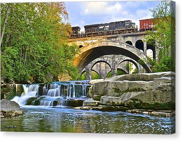 Berea Falls And Train Canvas Print by Frozen in Time Fine Art Photography