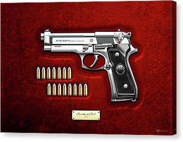 Beretta 92fs Inox With Ammo On Red Velvet  Canvas Print by Serge Averbukh