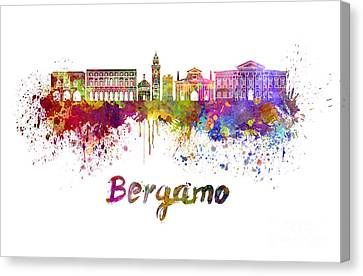 Bergamo Skyline In Watercolor Canvas Print by Pablo Romero