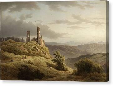 Berglandschap Met Ruine Canvas Print by MotionAge Designs