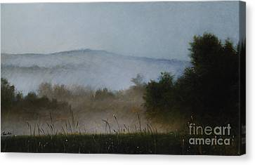 Berkshire Morning Mist Canvas Print by Larry Preston