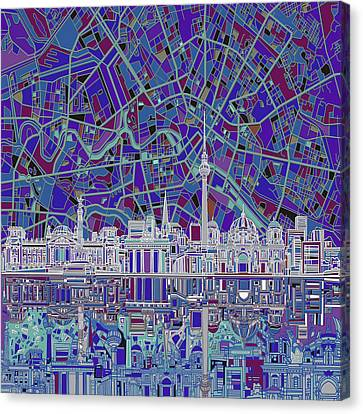 Berlin City Skyline Abstract 3 Canvas Print by Bekim Art