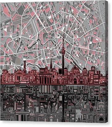 Berlin City Skyline Abstract Canvas Print by Bekim Art