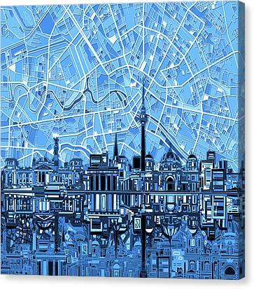 Berlin City Skyline Abstract Blue Canvas Print