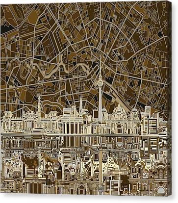 Berlin City Skyline Abstract Brown Canvas Print by Bekim Art