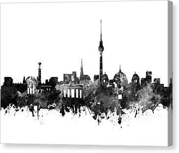 Berlin City Skyline Black And White Canvas Print by Bekim Art