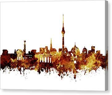 Berlin City Skyline Brown Canvas Print by Bekim Art