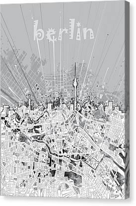 Berlin City Skyline Map 2 Canvas Print by Bekim Art