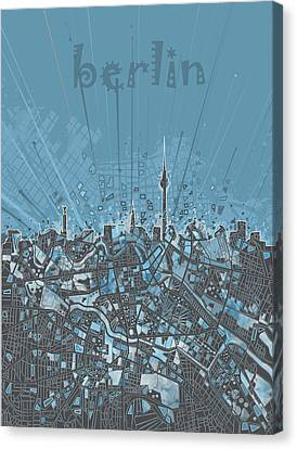Berlin City Skyline Map 3 Canvas Print by Bekim Art
