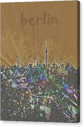 Berlin City Skyline Map 4 Canvas Print by Bekim Art