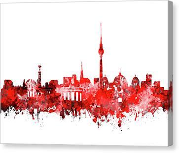 Berlin City Skyline Red Canvas Print by Bekim Art