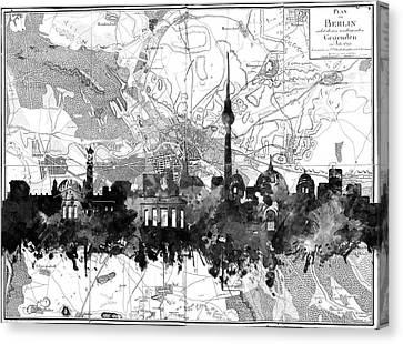 Berlin City Skyline Vintage 2 Canvas Print by Bekim Art