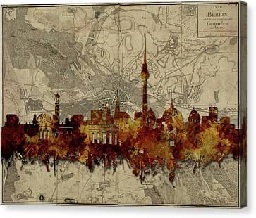 Berlin City Skyline Vintage Canvas Print by Bekim Art