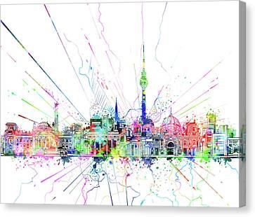Berlin City Skyline Watercolor 2 Canvas Print by Bekim Art