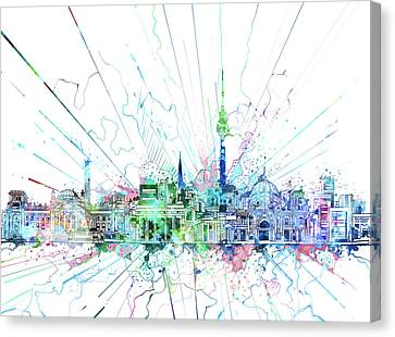 Berlin City Skyline Watercolor 3 Canvas Print by Bekim Art
