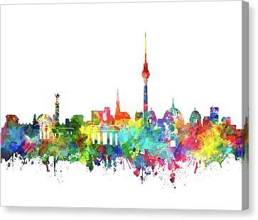 Berlin City Skyline Watercolor Canvas Print by Bekim Art