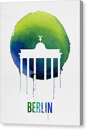 Berlin Landmark Blue Canvas Print by Naxart Studio