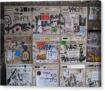 Canvas Print featuring the photograph Berlin  Mailboxes by Erik Falkensteen