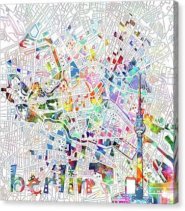 Berlin Map White Canvas Print by Bekim Art