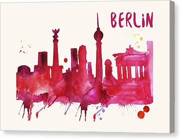Berlin Skyline Watercolor Poster - Cityscape Painting Artwork Canvas Print