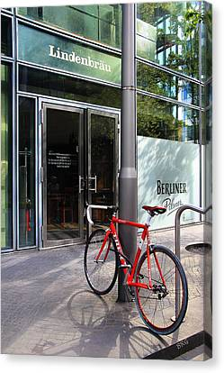 Berlin Street View With Red Bike Canvas Print by Ben and Raisa Gertsberg