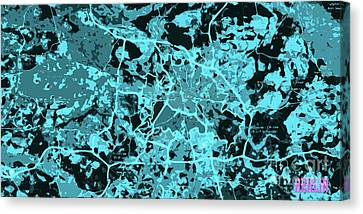 Times Square Canvas Print - Berlin Traffic Abstract Blue Map by Pablo Franchi