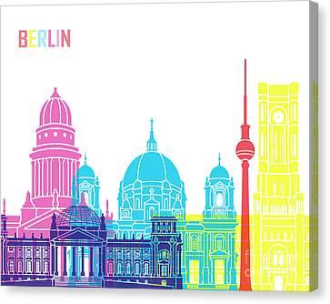 Berlin V2 Skyline Pop Canvas Print by Pablo Romero