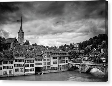 Medieval Canvas Print - Bern Switzerland In Black And White  by Carol Japp