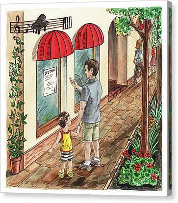 Bernard Goes To Music School Book Canvas Print by Irina Sztukowski