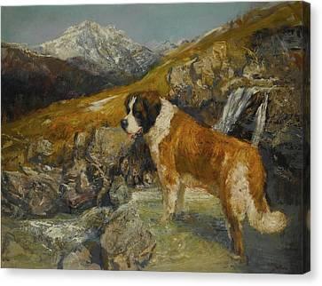 Bernard In A Mountainous Landscape Canvas Print