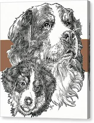 Working Dog Canvas Print - Bernese Mountain Dog And Pup by Barbara Keith
