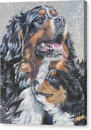 Bernese Mountain Dog With Pup Canvas Print by Lee Ann Shepard