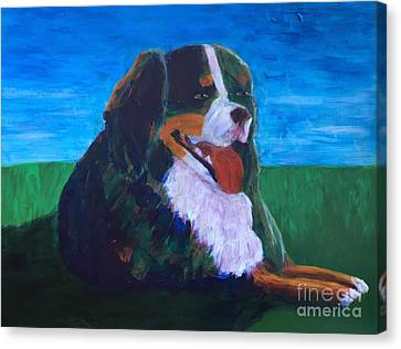 Canvas Print featuring the painting Bernese Mtn Dog Resting On The Grass by Donald J Ryker III