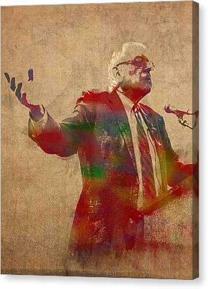 Democrats Canvas Print - Bernie Sanders Watercolor Portrait by Design Turnpike