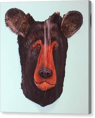 Berry Black Bear Canvas Print by Ellen Burns