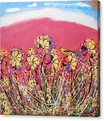 Berry Pink Flower Garden Canvas Print
