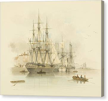 Berth Between The Two Mud Docks In The Grove Canvas Print by Thomas Leeson the Elder Rowbotham
