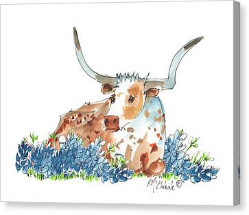 Bessie In The Bluebonnets Watercolor Painting By Kmcelwaine Canvas Print by Kathleen McElwaine