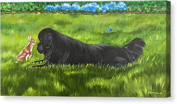 Canvas Print featuring the painting Best Buddies by Sharon Nummer