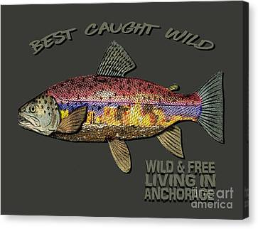 Canvas Print featuring the digital art Fishing - Best Caught Wild-on Dark by Elaine Ossipov