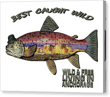Fishing - Best Caught Wild On Light Canvas Print by Elaine Ossipov