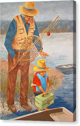 Canvas Print featuring the painting Best Fishing Buddy by Tony Caviston