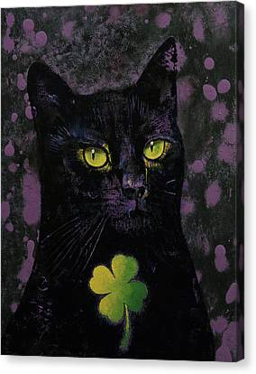 Lucky Black Cat Canvas Print by Michael Creese
