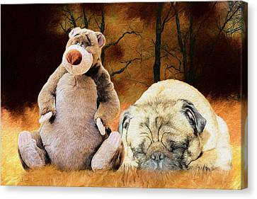 Best Friends In The Grass Canvas Print by Ericamaxine Price