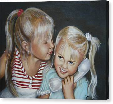 Canvas Print featuring the painting Best Friends by Joni McPherson