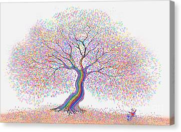 Best Friends Under The Rainbow Tree Of Dreams Canvas Print by Nick Gustafson