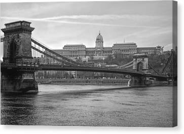 Best View Of Buda Castle Bw Canvas Print