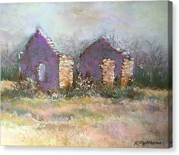 Canvas Print featuring the pastel Bethel School At Sunset by Rebecca Matthews