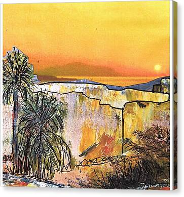 Mountain View Canvas Print - Bethelem Sunset Sketch by Patricia Taylor