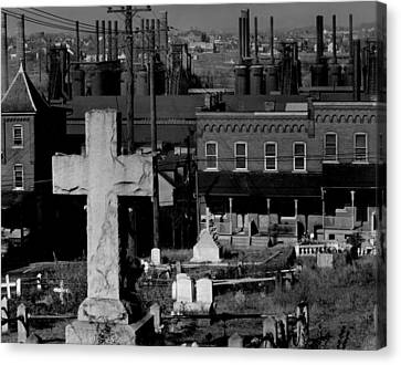 Bethlehem Graveyard And Steel Mill Canvas Print by Everett